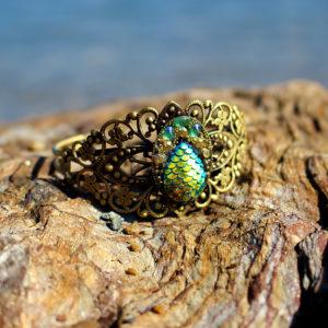 """Bracelet de sirène """"Barocco verde"""" - bracelets et bagues de sirène - bijoux Galatée Merveilles - bijoux de sirène - bijoux coquillage - bijoux fantaisies"""