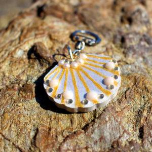 """Porte clé de sirène """"Coquillage Perle"""" - porte clés de sirène - accessoires Galatée Merveilles - accessoires de sirène - accessoires coquillage - accessoires fantaisies"""