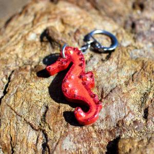 """Porte clé de sirène """"Hyppo corail"""" - porte clés de sirène - accessoires Galatée Merveilles - accessoires de sirène - accessoires coquillage - accessoires fantaisies"""
