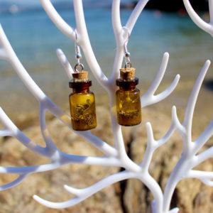 """Boucles d'oreille de sirène - """"Bouteilles feuilles d'argent"""" - flacons - coquillages - strass - sable - bijoux Galatée Merveilles - bijoux de sirène - bijoux coquillage - bijoux fantaisies"""