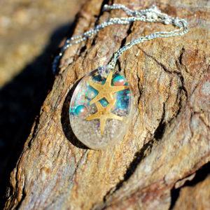 "Pendentif ""Two stars"" - bijoux galatée merveilles - pendentif de sirène - bijoux de sirène - bijoux coquillage - bijoux fantaisies - colliers de sirène"