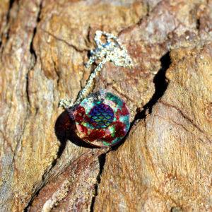 """Pendentif """"Ecailles rouge corail"""" - bijoux galatée merveilles - pendentif de sirène - bijoux de sirène - bijoux coquillage - bijoux fantaisies - colliers de sirène"""